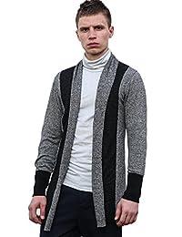 Allegra K Men Shawl Collar Contrast Color Knit Cardigan