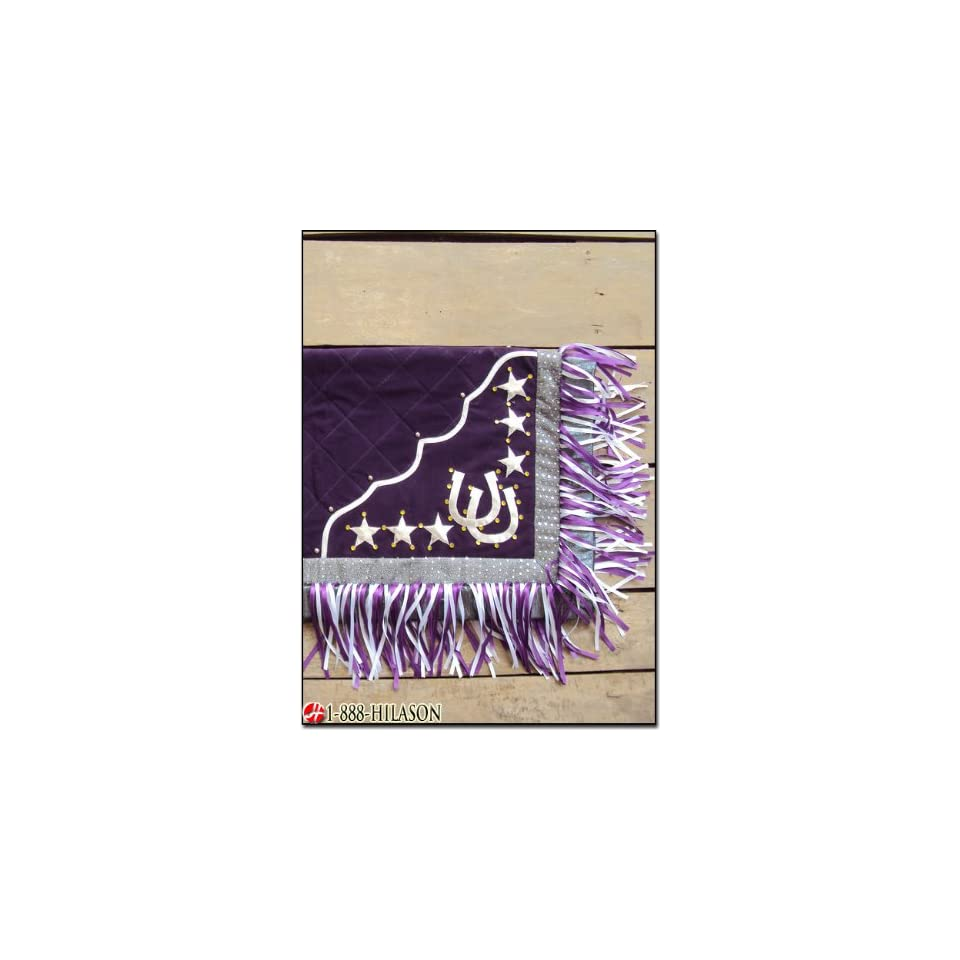 Blanket Purple Body Silver Border Horse Shoes & Star Design White And Purple Fringes