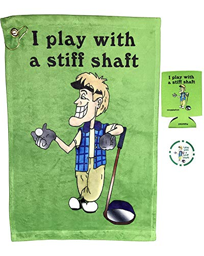 Giggle Golf I Play with A Stiff Shaft Golf Towel, Poker Chip, and Koozie | Funny Golf Towel ()