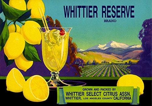 A SLICE IN TIME Whittier Los Angeles California Reserve Lemon Lemons Citrus Fruit Crate Label Art Print ()