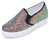Mofri Women's Stylish Sequins Round Toe Low Top Elastic Slip on Loafers Sneakers (Black, 4.5 B(M) US)