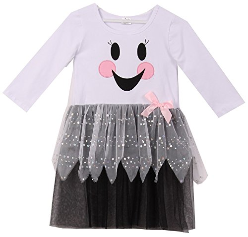 Toddler Girl Halloween Happy Face Top with Polka Dot Pants Costume Set Black 2T XS 700322]()