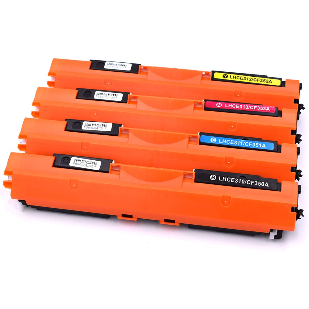 Ink & Toner Family 4 Stü cke (1 Schwarz, 1 Cyan, 1 Magenta, 1 Gelb) toner CF350A CF351A CF352A CF353A Tonerkartusche kompatibel fü r HP Color LaserJet Pro MFP M176N M177FW Drucker