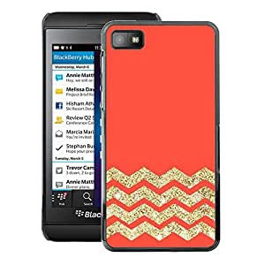 A-type Arte & diseño plástico duro Fundas Cover Cubre Hard Case Cover para Blackberry Z10 (Orange Zig Zag Pattern)