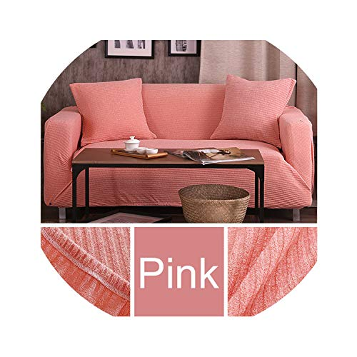 Clayton M Bracewell Melange Knitting Slipcovers Universal Stretch Sofa Cover Elasticity Seat Couch Cover Loveseat Sofa Furniture Cover Towel All Wrap,Pink,1 Seat 90-140Cm