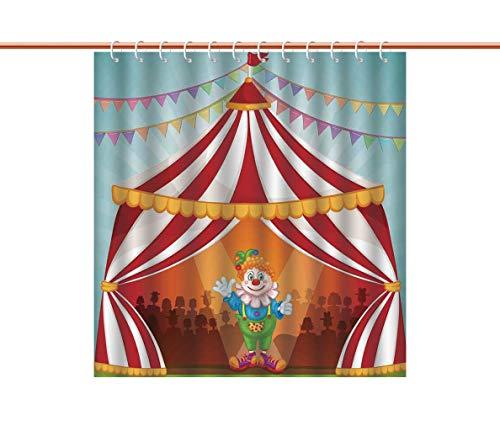 American Shower Curtain [ Circus Decor,Cartoon Clown in Circus Tent Cheerful Costume Funny Entertainer Joyful ] Decorative Curtain Ideas