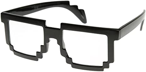 Disfraz de vieja escuela de 8 bits Nerd Geek Gamer Pixel gafas ...