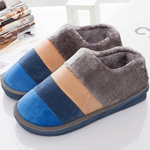 Maybest Donna Uomo Inverno Autunno Pantofole Calde Comode Scarpe Interne In Cotone Antiscivolo Pantofole Tacco Chiuso Blu Grigio Per Gli Uomini