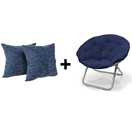 Microsuede Large Folding Saucer Chair In Navy + Throw Pillow Chenille In  Navy, Set Of