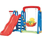 RBWTOY Kids 4 in Slide with Swing Plus Basket Ball Play set Funny Children Game Slider Swing