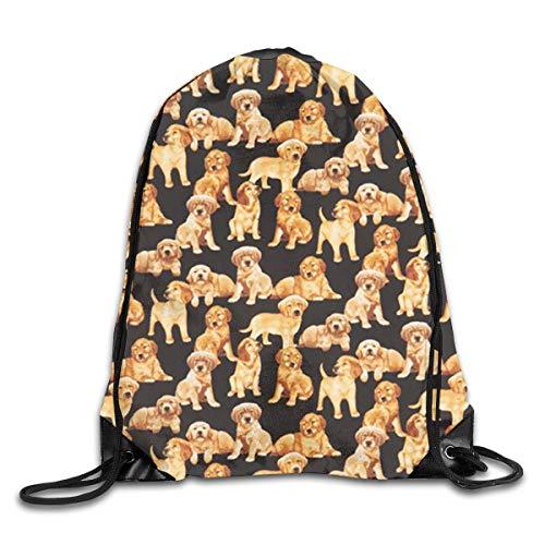 Anticso Rucksack Drawstring Bag Black Golden Retriever Dog Puppy Men & Women Fashion Backpacks Shoulder Bag Laptop Backpack,Sport Gym Sackpack Drawstring Backpack Bag