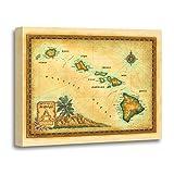 TORASS Canvas Wall Art Print Oahu Hawaii Map Sizes Maui Kauai Big Island Artwork for Home Decor 24'' x 32''