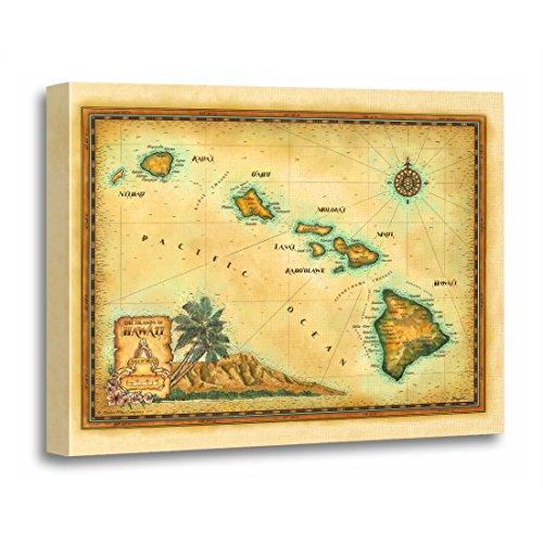 TORASS Canvas Wall Art Print Oahu Hawaii Map Sizes Maui Kauai Big Island Artwork for Home Decor 24'' x 32'' by TORASS