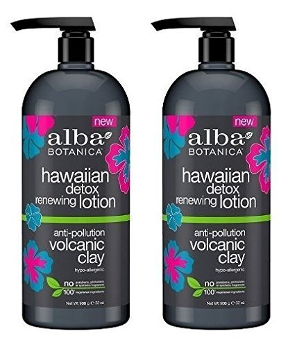 Hawaiian Detox Renewing Body Lotion (Pack of 2) With Volcanic Clay, Sunflower Seed Oil, Shea Butter, Coconut, Orange, Aloe Leaf Juice and Flower Extracts, 32 fl. oz. Each ()