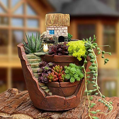 (dezirZJjx Mini Micro Landscape,Cute Mini Succulent Planter Flower Plant Bonsai Pot Micro Landscape Garden)