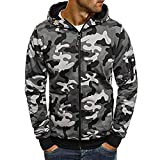Beautyfine Mens Camouflage Hooded Sweatshirt Zipper Pullover Fashion Autumn Long Sleeve Tops Blouse
