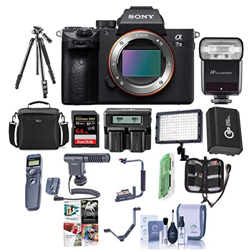 Sony Alpha a7 III 24MP UHD 4K Mirrorless Digital Camera Body - Bundle 64GB SDHC U3 Card, Camera Case, Spare Battery, Tripod, Video Light, Flash, Remote Shutter Release, Software Package, and More