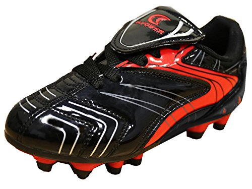 Image of D Power Kid's Indoor Outdoor Turf Soccer Cleat (4 M US Little Kid, Black/Red)