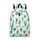 Teecho Waterproof Cute Backpack for Girl Casual Print School Bag Women Laptop Backpack Cactus