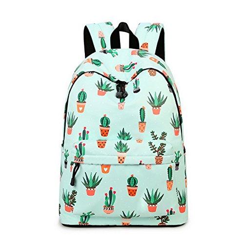 Teecho Waterproof Cute Backpack for Girl Casual Print School Bag Women Laptop Backpack Cactus (Print Backpack)