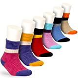 wool socks for kids - Girls Wool Socks Kids Color Block Seamless Winter Warm Socks 6 Pack