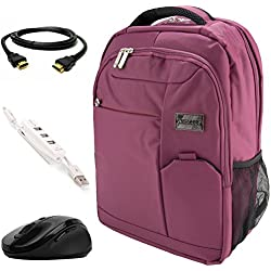 """VanGoddy Orchid Purple Executive Anti-Theft Laptop Backpack w/ 3PC Accessory Bundle for Acer TravelMate / ChromeBook / Aspire / Spin / Swift 11"""" to 15inch"""