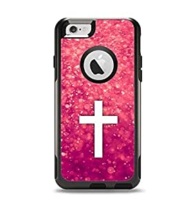 The Vector White Cross over Unfocused Pink Glimmer Apple iPhone 6 Otterbox Commuter Case Skin Set (Skin Only)