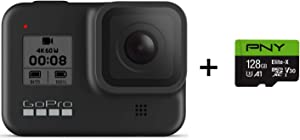 GoPro HERO8 Black + PNY Elite-X 128GB U3 microSDHC Card (Bundle)