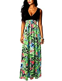 Eyekepper Women's Sleeveless V-Neck High Waist Floral Printing Length Dress