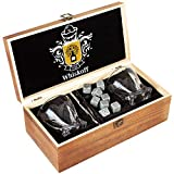 Cheap Whiskey Glass Set of 2 – Bourbon Whiskey Stones Gift Set – Twist Scotch Rocks Tongs, Coasters, Chilling Stones & Bar Glasses – Drinking Glasses for Men & Woman – Whiskey Glassware in Wooden Gift Box