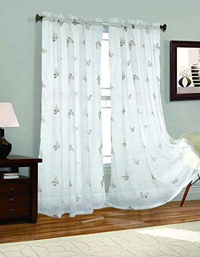 Butterfly Embroider Window Curtain Drapes product image