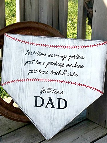 Baseball Sign - Baseball Dad Gift - Gift for Dad - Wooden Softball Sign - Home Plate Baseball Wall Decor Large Home Plate Sign - Father's Day Birthday Gift
