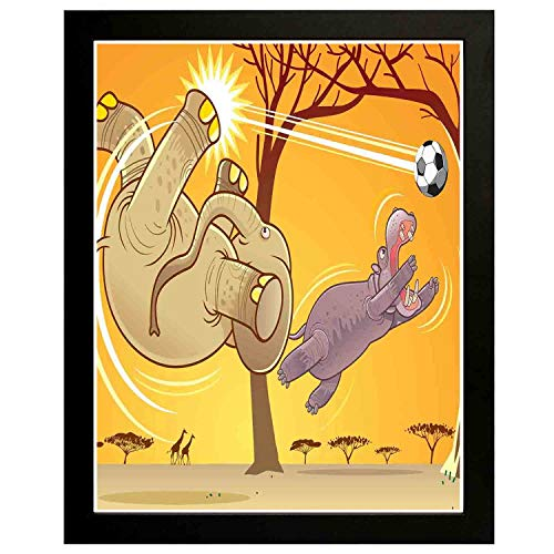 - Akalidebaih Elephant Art Wall Painting,Frame.Elephant and Hippo Playing Football Cartoon Fantastic Animal,Art Deco Print,Home,Office,Cafe 16x12inch