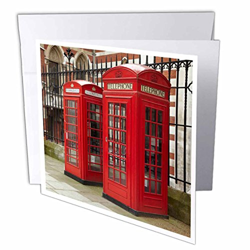 3dRose Danita Delimont - London - Phone boxes, Royal Courts of Justice, London, England - EU33 DWA0003 - David Wall - 6 Greeting Cards with envelopes (gc_82770_1)