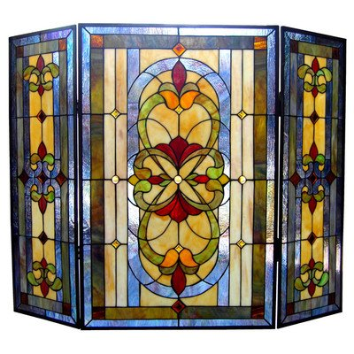 Fireplace Stained Glass - Chloe Lighting Victorian Fireplace Screen