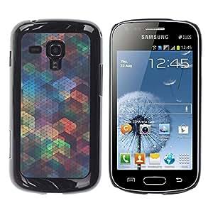 Be Good Phone Accessory // Dura Cáscara cubierta Protectora Caso Carcasa Funda de Protección para Samsung Galaxy S Duos S7562 // Polygon Iridescent Teal Shapes Pattern