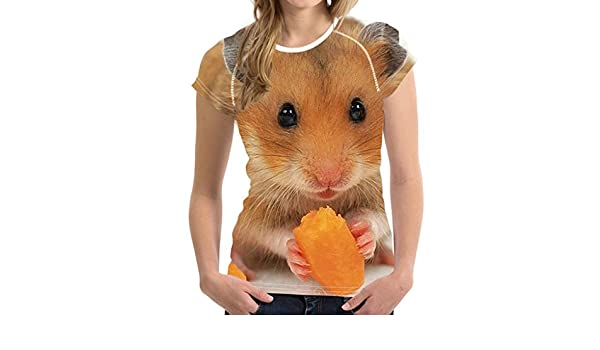 Amazon.com: TEXAS, FOOTBALL COUNTRY Women T Shirts Cute Hamster Short Sleeve 3D Tee Ladies T-Shirt Camisetas: Clothing