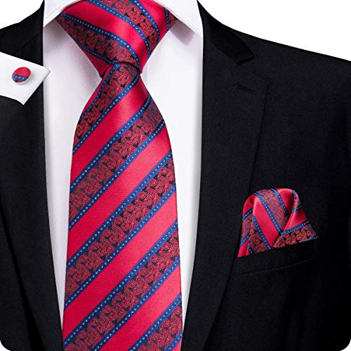 Hi-Tie Mens New Arrival Red Paisley Stripes Tie Necktie with Cufflinks and Pocket Square Tie Set