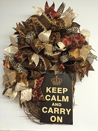 "29"" Keep Calm Funky Bow Christmas or Everyday OVAL Wreath with Cheetah Ribbon, Christmas Ribbon & More!"