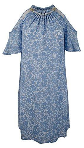 - Michael Kors Women's Floral Georgette Halter Chain Neck Cold Shoulder Dress-B-L