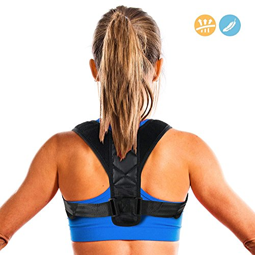 Penewell Posture Corrector for Women & Men, Relieves Upper Back & Shoulders Pain, Corrects Slouching, Hunching & Bad Posture, Clavicle Support Adjustable Brace ()