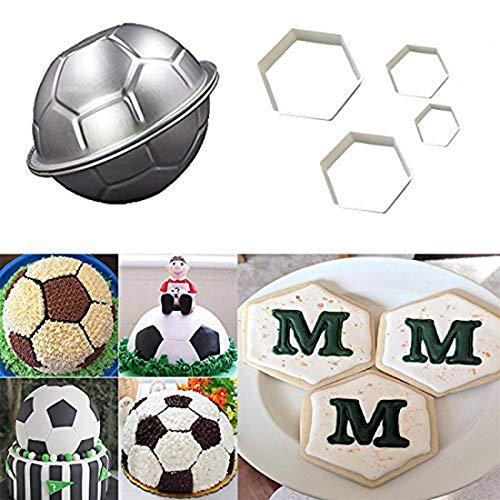 3D Soccer Ball Pan,LQQDD Football Shape Cake Pan and The Easiest Soccer Cookie Ever Cutter Set,Football Cutter Cake Mold for Stadium Player World Cup Master Chart Cake Decoration Gumpaste Fondant Mold