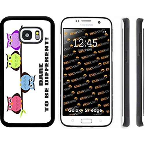 Rikki Knight Dare to be Different Owls Design Samsung Galaxy S7 Edge Case Cover (Black Rubber with front Bumper Protection) for Samsung Galaxy S7 Edge ONLY Sales