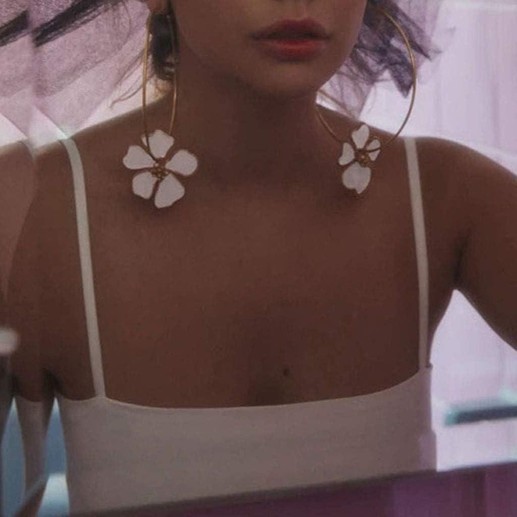 bianco - JJ-123 per donna HSKB Orecchini da donna in acciaio inox con zirconi classici a forma di fiore intagliato Bianco