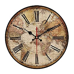 YeYo Wooden Printed World Map Wall Clock MDF Waterproof Silent Art Decor for Home Living Room Office Decoration (16inch)