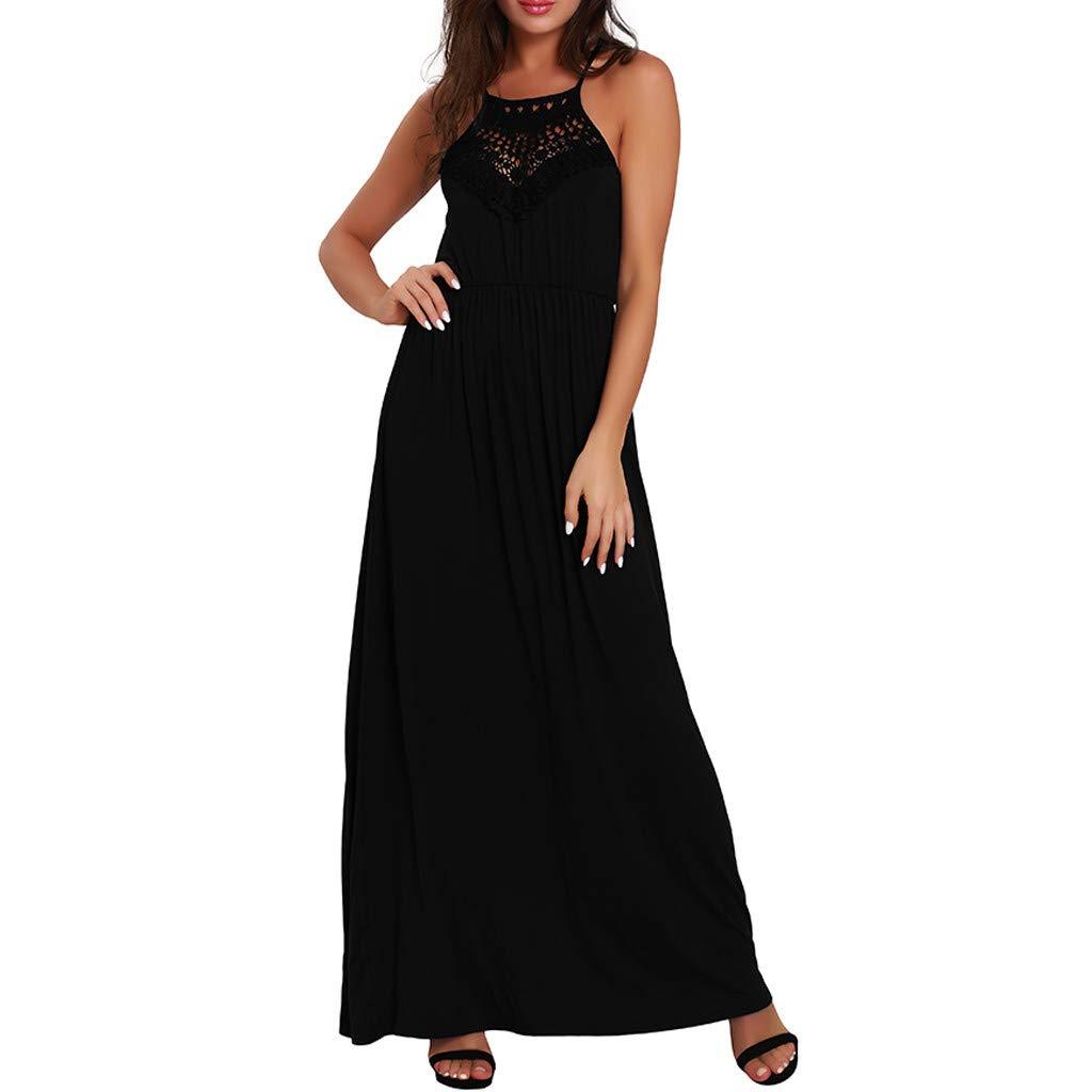 IEasⓄn Women's Fashion Halter Lace Splicing Swing Long Dress Summer Casual Sleeveless Loose Beach Maxi Dress Trendy Ankle-Length Dress