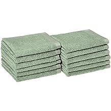 AmazonBasics Quick-Dry Washcloth - 100% Cotton, 12-Pack, Seafoam Green