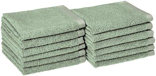 AmazonBasics Quick-Dry Bathroom Washcloth, 100% Cotton, Set of 12, Seafoam Green