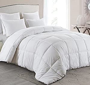 Basic Beyond Luxury White Down Comforter, Light Warmth Duvet Insert,Peach Skin Fabric,600 Fill Power Peach Skin Fabric,White by Homgood