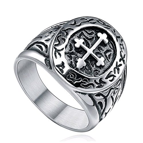 Sale! Men's 316l Stainless Steel Silver Black Celtic Medieval Cross Oval Classic Vintage Biker Ring Size 7 - 13 (10.5) Photo #3